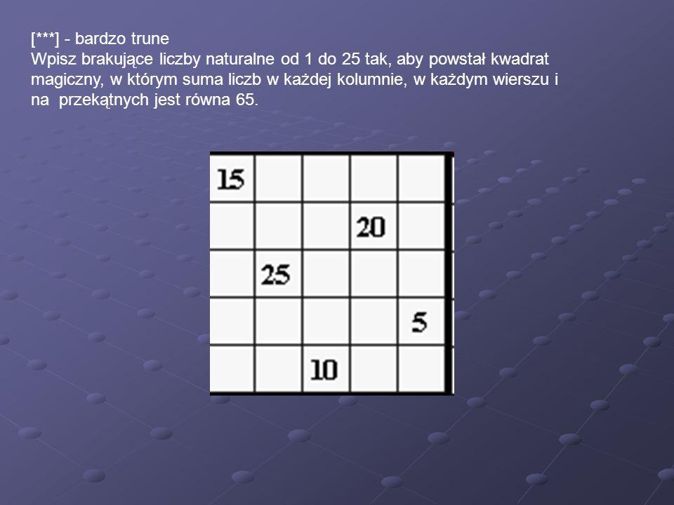 [***] - bardzo trune Wpisz brakujące liczby naturalne od 1 do 25 tak, aby powstał kwadrat magiczny, w którym suma liczb w każdej kolumnie, w każdym wierszu i na przekątnych jest równa 65.